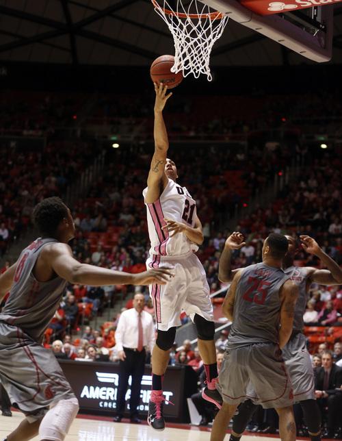 Utah forward Jordan Loveridge (21) takes a shot against Washington State during the second half of an NCAA college basketball game in Salt Lake City, Saturday, Feb. 8, 2014. Utah won 81-63. (AP Photo/Jim Urquhart)