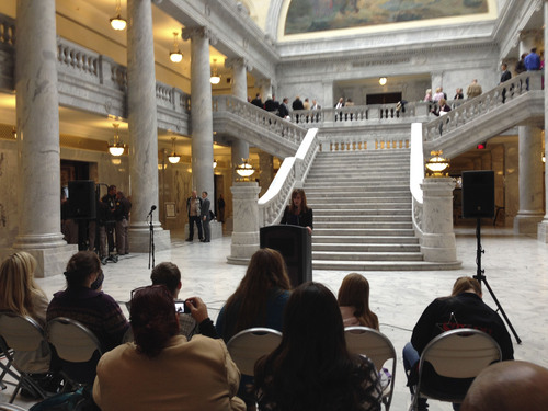 Jim Dalrymple II  |  The Salt Lake Tribune Utah domestic violence experts spoke Feb. 10 at the Utah State Capitol about the state's growing problem with intimate partner violence. They also called on lawmakers to fund more domestic violence services.
