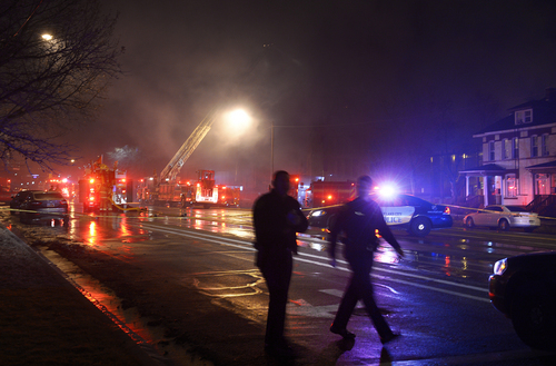 Scott Sommerdorf   |  The Salt Lake Tribune Homes to the west of the fire that broke out at a building under construction at 550 E, 500 S - at right - were evacuated, Sunday, Feb. 9, 2014.