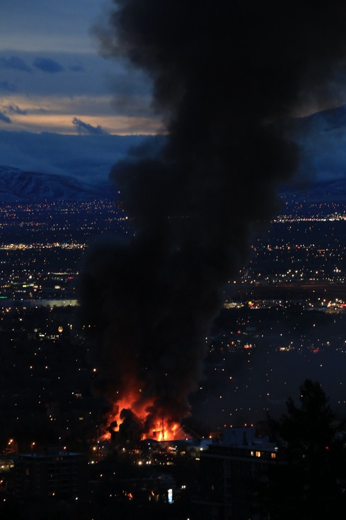 Courtesy Ryan Scott Walls A view of the four-alarm fire in Salt Lake City from 11th Avenue, Sunday, Feb. 9, 2014.