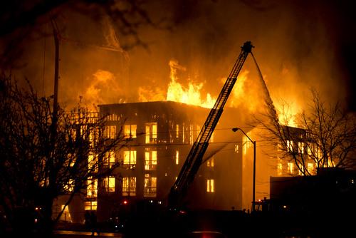 Lennie Mahler  |  The Salt Lake Tribune Firefighters battle a four-alarm fire near downtown Salt Lake City, Sunday, Feb. 9, 2014.