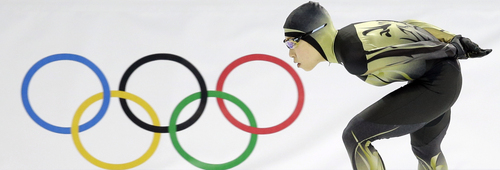 Shoko Fujimura of Japan competes in the women's 3,000-meter speedskating race at the Adler Arena Skating Center during the 2014 Winter Olympics, Sunday, Feb. 9, 2014, in Sochi, Russia. (AP Photo/Patrick Semansky)
