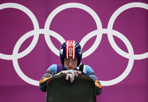 Kate Hansen of the United States prepares to start a run during the women's singles luge training at the 2014 Winter Olympics, Sunday, Feb. 9, 2014, in Krasnaya Polyana, Russia. (AP Photo/Michael Sohn)