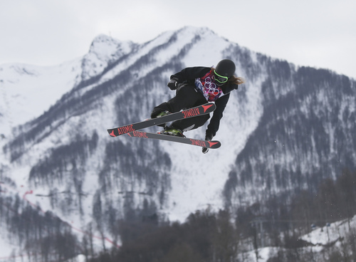 New Zealand's Beau-James Wells takes a jump during freestyle skiing slopestyle training at the 2014 Winter Olympics, Monday, Feb. 10, 2014, in Krasnaya Polyana, Russia. (AP Photo/Sergei Grits)