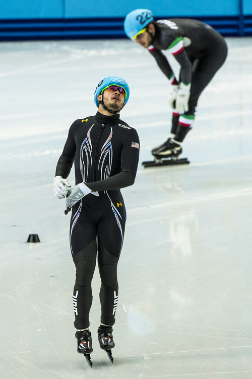 SOCHI, RUSSIA  - JANUARY 10: United State's Eduardo Alvarez reacts after competing in the 1,500-meter short-track speedskating competition at Iceberg Skating Palace during the 2014 Sochi Olympic Games Monday February 10, 2014. (Photo by Chris Detrick/The Salt Lake Tribune)