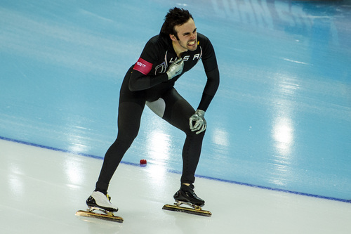 SOCHI, RUSSIA  - JANUARY 10: Park City's Mitch Whitmore reacts after competing in the long track men's 500m race at the Adler Arena Skating Center during the 2014 Sochi Olympic Games Monday February 10, 2014. Whitmore finished in 27th place.  (Photo by Chris Detrick/The Salt Lake Tribune)
