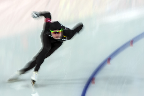 SOCHI, RUSSIA  - JANUARY 10: United State's Tucker Fredricks competes in the long track men's 500m race at the Adler Arena Skating Center during the 2014 Sochi Olympic Games Monday February 10, 2014. Fredricks finished in 26th place.  (Photo by Chris Detrick/The Salt Lake Tribune)