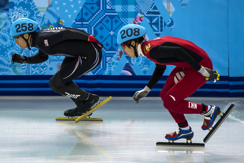 Chris Detrick  |  The Salt Lake Tribune  J.R. Celski, of Salt Lake City, and Dequan Chen, of China, (208) compete in the 1,500-meter short-track speedskating finals at Iceberg Skating Palace during the 2014 Sochi Olympic Games Monday Feb. 10, 2014. Celski finished in fourth place with a time of 2:15.624, 0.639 behind gold medalist Charles Hamelin of Canada.