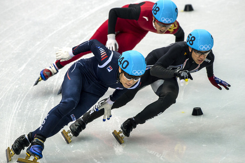 Chris Detrick  |  The Salt Lake Tribune  Han-Bin Lee, of Korea, (240) J.R. Celski, of Salt Lake City, and Dequan Chen, of China, (208) compete in the 1,500-meter short-track speedskating finals at Iceberg Skating Palace during the 2014 Sochi Olympic Games Monday Feb. 10, 2014. Celski finished in fourth place with a time of 2:15.624, 0.639 behind gold medalist Charles Hamelin of Canada.