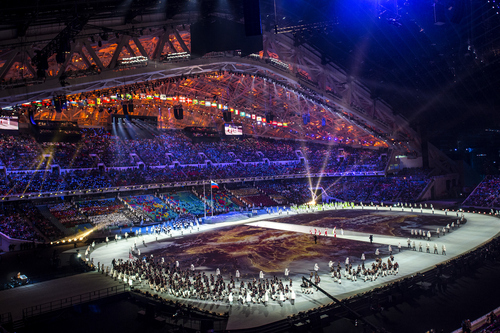 SOCHI, RUSSIA  - JANUARY 7: Team USA is introduced during the Opening Ceremony of the 2014 Sochi Olympics at Fisht Olympic Stadium Friday February 7, 2014. (Photo by Chris Detrick/The Salt Lake Tribune)