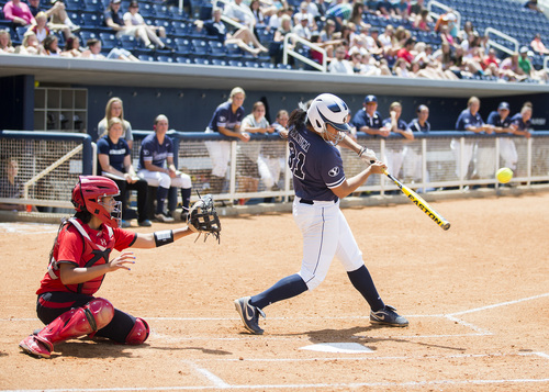 Courtesy | BYU Junior infielder Katie Manuma (31) led the Cougars with six home runs and 44 runs driven in. BYU plays Oregon on Thursday.