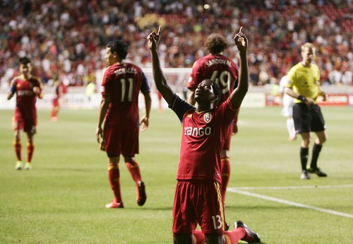 Kim Raff  |  The Salt Lake Tribune (front) Real Salt Lake forward Olmes Garcia (13) celebrates scoring his second goal against the Los Angeles Galaxy during the second half at Rio Tinto Stadium in Salt Lake City on June 8, 2013.  Real went on to win the game 3-1.