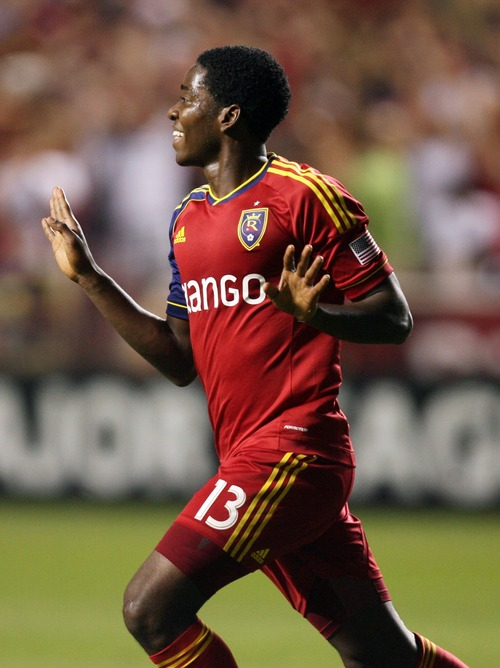 Kim Raff  |  The Salt Lake Tribune Real Salt Lake forward Olmes Garcia (13) celebrates scoring a goal against the Los Angeles Galaxy during the second half at Rio Tinto Stadium in Salt Lake City on June 8, 2013.  Real went on to win the game 3-1.