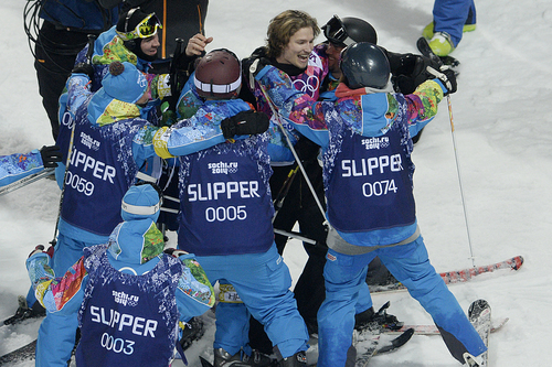 ROSA KHUTOR, RUSSIA - FEBRUARY 11: Switzerland's Iouri Podladtchikov reacts to taking over first place after his second run during the men's snowboard halfpipe final. Sochi 2014 Winter Olympics on Tuesday, February 11, 2014. (Photo by AAron Ontiveroz/The Denver Post)
