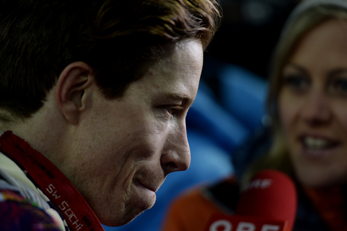 ROSA KHUTOR, RUSSIA - FEBRUARY 11: Two-time defending gold medalist Shaun White reacts to finishing fourth -- Switzerland's Iouri Podladchikov won the event -- after the men's snowboard halfpipe final. Sochi 2014 Winter Olympics on Tuesday, February 11, 2014. (Photo by AAron Ontiveroz/The Denver Post)