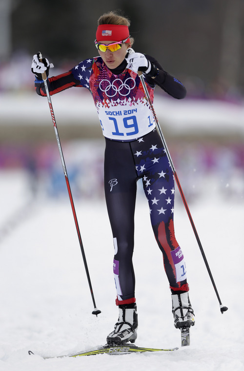 United States' Sophie Caldwell starts her women's qualification heat of the cross-country sprint at the 2014 Winter Olympics, Tuesday, Feb. 11, 2014, in Krasnaya Polyana, Russia. (AP Photo/Matthias Schrader)