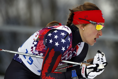 United States' Sophie Caldwell competes during the women's qualifications of the cross-country sprint at the 2014 Winter Olympics, Tuesday, Feb. 11, 2014, in Krasnaya Polyana, Russia. (AP Photo/Felipe Dana)