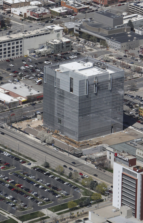 Francisco Kjolseth  |  The Salt Lake Tribune The new Federal building shaped like a glass cube and seen in April of 2013 nears completion in downtown Salt Lake City.