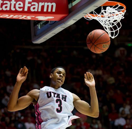 Trent Nelson  |  The Salt Lake Tribune Utah Utes guard/forward Princeton Onwas (3) dunks the ball as the University of Utah hosts Washington State, NCAA basketball at the Huntsman Center Saturday February 8, 2014 in Salt Lake City.