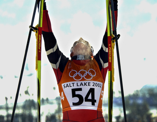 Al Hartmann  |  Tribune file photo  Norway's Benti Skari raises her eyes to the sky in steaming celebration after winning the Women's 10K Classical at Soldier Hollow.