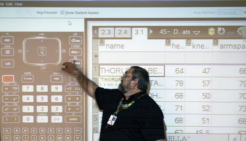 Keith Johnson | The Salt Lake Tribune/POOL  Teacher Rob Lake conducts a lesson on slope during his introduction to statistics class at Kearns High School, February 5, 2014 in Kearns, Utah. Each student has a Texas Instruments wireless calculator that transmits its data onto the screen for all to see. The Utah Legislature is looking into infusing millions of dollars for technology in Utah classrooms. Kearns High received a $1 million grant 3 years ago, allowing every student to get an iPod touch to help in the classroom. The results were mixed.