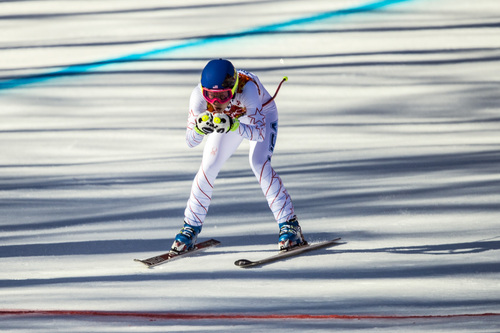 KRASNAYA POLYANA, RUSSIA  - JANUARY 12: Laurenne Ross, of Bend, Ore., competes in the women's downhill race at Rosa Khutor Alpine Center Wednesday February 12, 2014. Ross finished in 11th with a time of 1:42.68. (Photo by Chris Detrick/The Salt Lake Tribune)