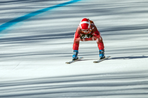 KRASNAYA POLYANA, RUSSIA  - JANUARY 12: Switzerland's Dominique Gisin competes in the women's downhill race at Rosa Khutor Alpine Center Wednesday February 12, 2014. Gisin tied for first place with a time of 1:41.57 with Slovenia's Tina Maze. (Photo by Chris Detrick/The Salt Lake Tribune)