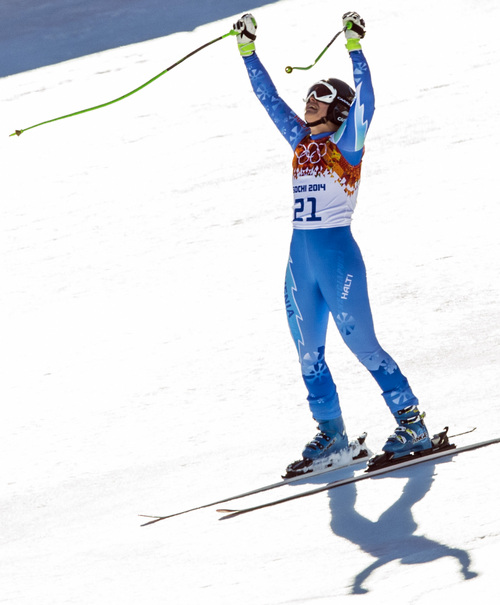 KRASNAYA POLYANA, RUSSIA  - JANUARY 12: Slovenia's Tina Maze reacts after competing in the women's downhill race at Rosa Khutor Alpine Center Wednesday February 12, 2014. Maze tied for first place with a time of 1:41.57 with Switzerland's Dominique Gisin. (Photo by Chris Detrick/The Salt Lake Tribune)