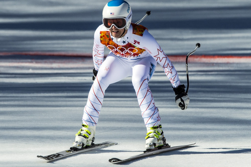 KRASNAYA POLYANA, RUSSIA  - JANUARY 12: Julia Mancuso, of Squaw Valley, Calif., competes in the women's downhill race at Rosa Khutor Alpine Center Wednesday February 12, 2014. Mancuso finished in 8th place with a time of 1:42.56.  (Photo by Chris Detrick/The Salt Lake Tribune)