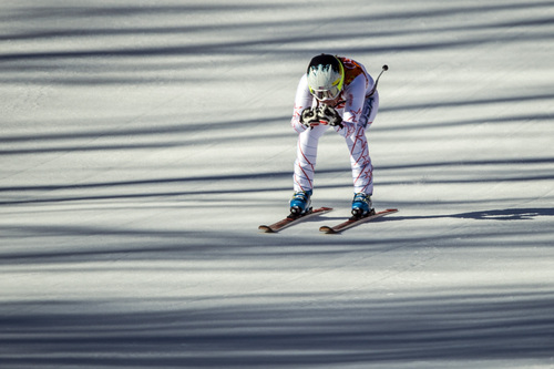KRASNAYA POLYANA, RUSSIA  - JANUARY 12: Jacqueline Wiles, of Aurora, OR., competes in the women's downhill race at Rosa Khutor Alpine Center Wednesday February 12, 2014. Wiles finished in 26th place with a time of 1:44.35.  (Photo by Chris Detrick/The Salt Lake Tribune)