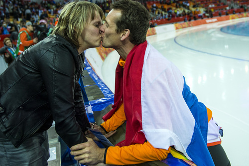 SOCHI, RUSSIA  - JANUARY 12: Netherlands' Stefan Groothuis kisses his wife Ester Groothuis after winning the men's 1,000 meter speed skating race at Adler Arena Skating Center during the 2014 Sochi Olympic Games Wednesday February 12, 2014. Groothuis won the gold with a time of 1:08.39. (Photo by Chris Detrick/The Salt Lake Tribune)