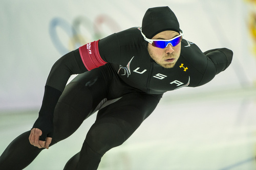 SOCHI, RUSSIA  - JANUARY 12: Joey Mantia, of Ocala, Fla., competes in the men's 1,000 meter speed skating race at Adler Arena Skating Center during the 2014 Sochi Olympic Games Wednesday February 12, 2014. Davis finished in eighth place with a time of 1:09.12. Mantia finished in 15th place with a time of 1:09.72. (Photo by Chris Detrick/The Salt Lake Tribune)