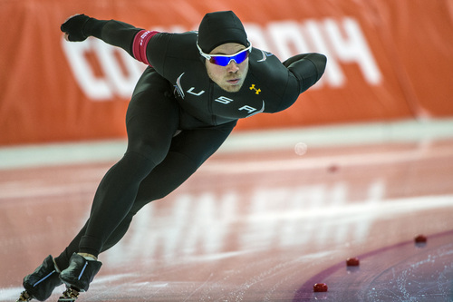 SOCHI, RUSSIA  - JANUARY 12: Joey Mantia, of Ocala, Fla., competes in the men's 1,000 meter speed skating race at Adler Arena Skating Center during the 2014 Sochi Olympic Games Wednesday February 12, 2014. Mantia finished in 15th place with a time of 1:09.72. (Photo by Chris Detrick/The Salt Lake Tribune)