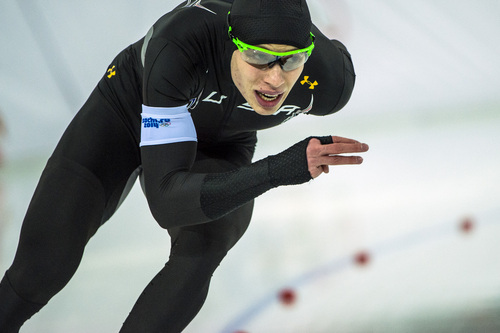 SOCHI, RUSSIA  - JANUARY 12: Brian Hansen, of Glenview, Ill., competes in the men's 1,000 meter speed skating race at Adler Arena Skating Center during the 2014 Sochi Olympic Games Wednesday February 12, 2014. Hansen finished in ninth place with a time of 1:09.21.  (Photo by Chris Detrick/The Salt Lake Tribune)
