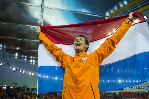 SOCHI, RUSSIA  - JANUARY 12: Netherlands' Stefan Groothuis celebrates after winning the men's 1,000 meter speed skating race at Adler Arena Skating Center during the 2014 Sochi Olympic Games Wednesday February 12, 2014. Groothuis won the gold with a time of 1:08.39. (Photo by Chris Detrick/The Salt Lake Tribune)
