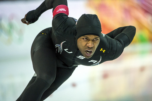 SOCHI, RUSSIA  - JANUARY 12: Shani Davis, of Chicago, Ill., competes in the men's 1,000 meter speed skating race at Adler Arena Skating Center during the 2014 Sochi Olympic Games Wednesday February 12, 2014. Davis finished in eighth place with a time of 1:09.12. (Photo by Chris Detrick/The Salt Lake Tribune)