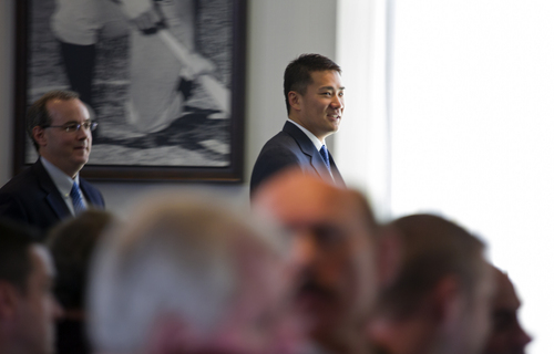 New York Yankees' pitcher Masahiro Tanaka arrives at a news conferece before being introduced to the media at Yankee Stadium in New York Tuesday, Feb. 11, 2014. (AP Photo/Craig Ruttle)