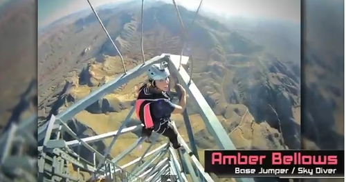 Amber Bellows in a YouTube video of a BASE jump from Buttermilk Tower.