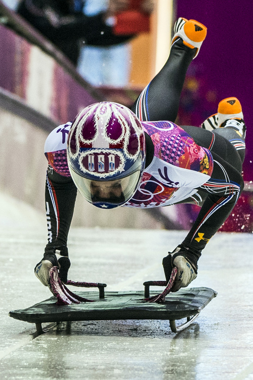 KRASNAYA POLYANA, RUSSIA  - JANUARY 13: Noelle Pikus-Pace, of Orem, competes in the women's skeleton at the Sanki Sliding Center during the 2014 Sochi Olympics Thursday February 13, 2014.  (Photo by Chris Detrick/The Salt Lake Tribune)