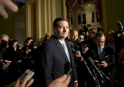 Carolyn Kaster  |  AP file photo In this Wednesday, Oct. 16, 2013 file photo, Sen. Ted Cruz, R-Texas, speaks with reporters on Capitol Hill in Washington.