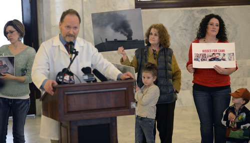 Al Hartmann  |  The Salt Lake Tribune  Dr. Brian Moench of Utah Physicians for a Healthy Environment speaks at press conference-rally with mothers and children who live near the Stericycle Meidical Incinerator in front of the Utah governor's office at the Capitol Thursday February 13, 2014.