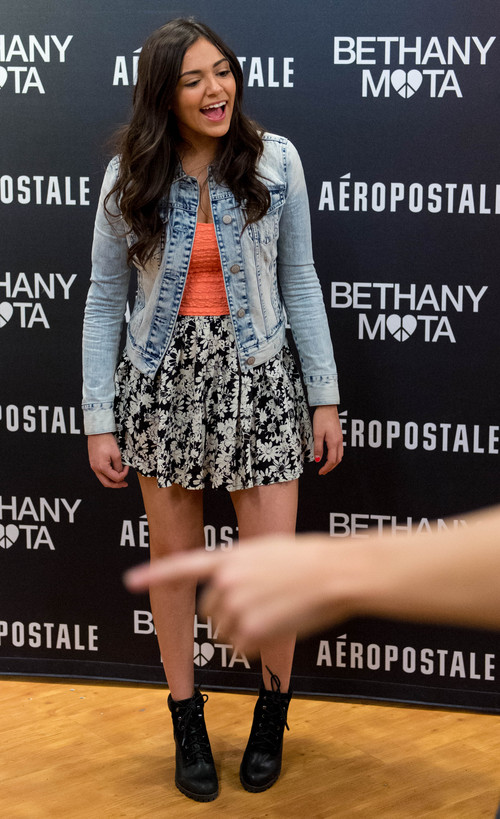 Trent Nelson  |  The Salt Lake Tribune YouTube star Bethany Mota meets her fans at the Aeropostale store in Fashion Place Mall in Murray where she opened a new line of clothing Thursday February 13, 2014.