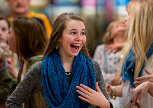 Trent Nelson  |  The Salt Lake Tribune A teenage girl reacts to meeting YouTube star Bethany Mota, at the Aeropostale store in Fashion Place Mall in Murray where she opened a new line of clothing Thursday February 13, 2014.