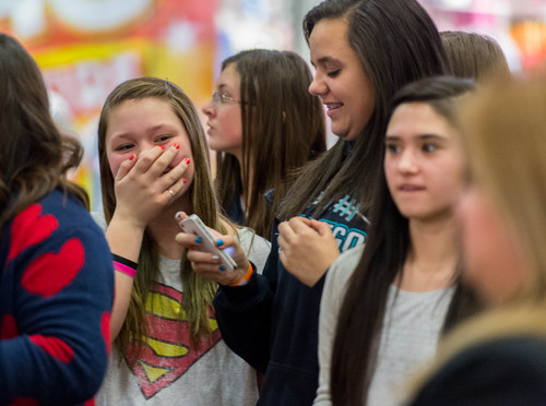 Trent Nelson  |  The Salt Lake Tribune Bailey Herron reacts to meeting YouTube star Bethany Mota, at the Aeropostale store in Fashion Place Mall in Murray where she opened a new line of clothing Thursday February 13, 2014.
