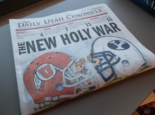 "A ""Rivalry Week"" copy of the University of Utah's student paper, The Daily Utah Chronicle, was inserted in The Salt Lake Tribune and the Deseret News on Friday, Sept. 16, 2011."