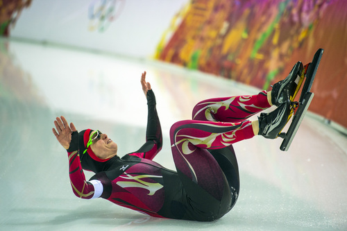 SOCHI, RUSSIA  - JANUARY 13: Germany's Monique Angermüller falls while competing in the women's 1,000 meter speed skating race at Adler Arena Skating Center in the during the 2014 Sochi Olympics Thursday February 13, 2014.  (Photo by Chris Detrick/The Salt Lake Tribune)