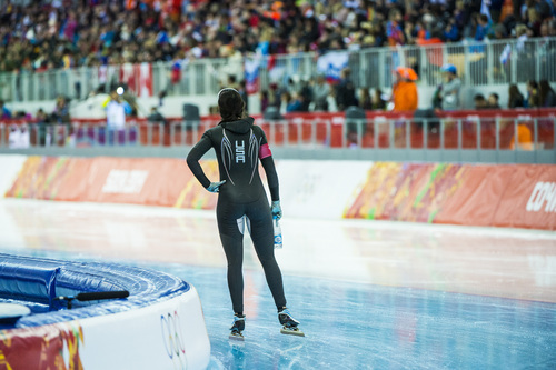 SOCHI, RUSSIA  - JANUARY 13: Brittany Bowe, of West Jordan, reacts after competing in the women's 1,000 meter speed skating race at Adler Arena Skating Center in the during the 2014 Sochi Olympics Thursday February 13, 2014. Bowe finished in eighth place with a time of 1:15.47.  (Photo by Chris Detrick/The Salt Lake Tribune)