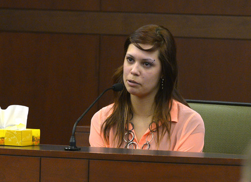 "Leah Hogsten  |  The Salt Lake Tribune Brenna Kinzenbaw Cain testifies during the trial of Eric Millerberg, Wednesday, February 12, 2014 in 2nd District Court. Cain said she and Alexis Rasmussen would go to the Millerberg home to do drugs two to three times a week. Eric Millerberg is accused in the 2011 drug-related death of his children's 16-year-old baby sitter. Millerberg, 38, of North Ogden, is charged with first-degree felony child-abuse homicide in the September 2011 death of Alexis ""Lexi"" Rasmussen. He also is charged with felony counts of obstructing justice, desecrating a body and having unlawful sexual activity with a minor."
