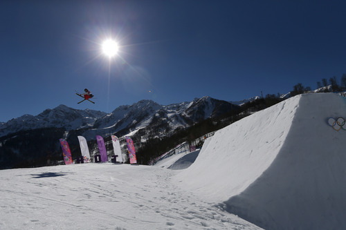 Joss Christensen of the United States makes a jump during the men's ski slopestyle final at the Rosa Khutor Extreme Park, at the 2014 Winter Olympics, Thursday, Feb. 13, 2014, in Krasnaya Polyana, Russia. (AP Photo/Sergei Grits)