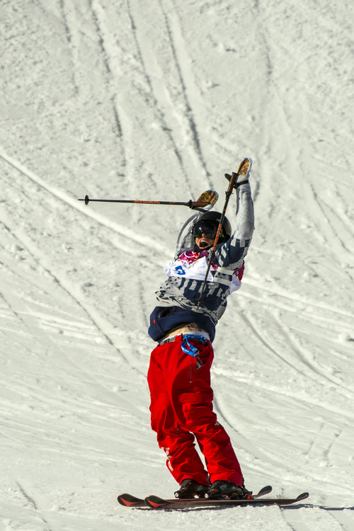 KRASNAYA POLYANA, RUSSIA  - JANUARY 13: Gus Kenworthy, of Telluride, Colo., celebrates after competing in the men's ski slopestyle competition at Rosa Khutor Extreme Park during the 2014 Sochi Olympics Thursday February 13, 2014. Joss Christensen, of Park City, Utah, won the gold medal with a score of  95.80. Gus Kenworthy, of Telluride, Colo., won the silver with a 93.60. Nick Goepper, of Lawrenceburg, Ind., won the bronze with a 92.40. It marked only the third time that the United States has swept the medals in an Olympic Winter Games event. (Photo by Chris Detrick/The Salt Lake Tribune)